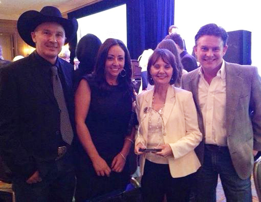 Pictured left to right: Clint Allen, NCHA's Jessica Harms, Donnalyn Quintana, and video producer, Lee Schneider.